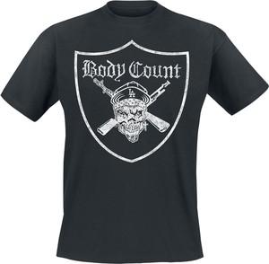 Czarny t-shirt Emp z krótkim rękawem z bawełny z nadrukiem