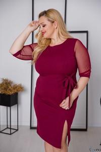 Czerwona sukienka tono.sklep.pl z tiulu ołówkowa z długim rękawem