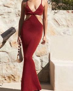 Czerwona sukienka Kendallme z dekoltem w kształcie litery v maxi na ramiączkach