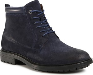 Granatowe buty zimowe Gino Rossi sznurowane