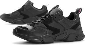 Czarne buty sportowe Tommy Hilfiger z zamszu sznurowane