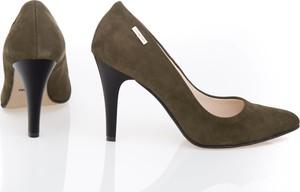 Zielone szpilki Zapato na szpilce ze skóry na wysokim obcasie