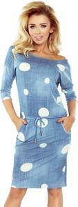 Niebieska sukienka NUMOCO z długim rękawem w stylu casual z jeansu