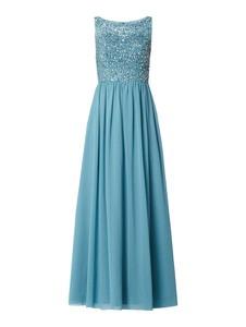 Niebieska sukienka Mascara bez rękawów z tiulu