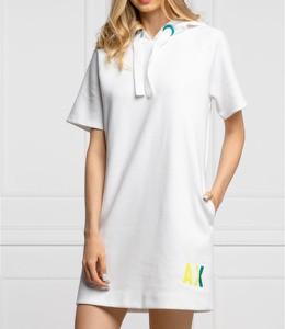 Sukienka Armani Exchange mini w stylu casual z kołnierzykiem