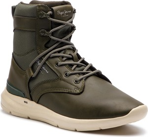Zielone buty zimowe Pepe Jeans w sportowym stylu ze skóry ekologicznej sznurowane