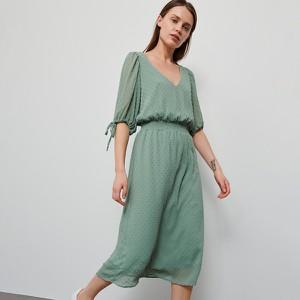 Zielona sukienka Reserved z długim rękawem w stylu casual