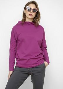 Fioletowa bluzka Freeshion z bawełny z golfem z długim rękawem