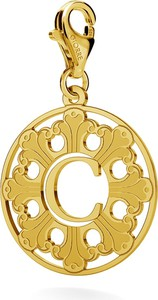 GIORRE SREBRNY CHARMS ROZETA Z LITERĄ 925 : Kolor pokrycia srebra - Pokrycie Żółtym 24K Złotem, Litera - C