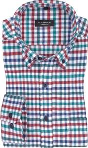 Koszula Eterna z bawełny z kołnierzykiem button down z długim rękawem