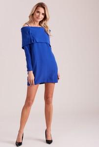 Niebieska sukienka Sheandher.pl z długim rękawem mini