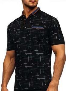 Czarna koszulka polo Denley z krótkim rękawem z nadrukiem w młodzieżowym stylu