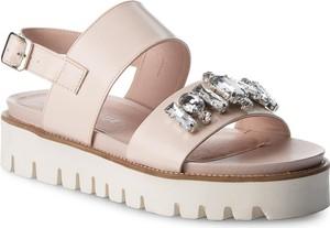 Różowe sandały Eva Minge w stylu casual ze skóry