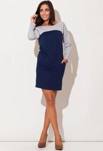 Granatowa sukienka Katrus mini z bawełny