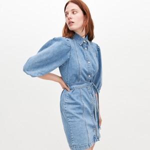 Niebieska sukienka Reserved mini z długim rękawem z jeansu
