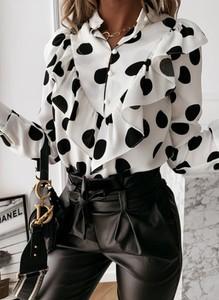 Bluzka Sandbella z dekoltem w kształcie litery v w stylu casual z długim rękawem