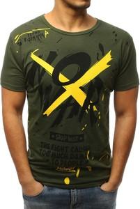 Zielony t-shirt Dstreet w młodzieżowym stylu z krótkim rękawem