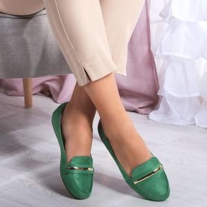 Zielone półbuty Royalfashion.pl w stylu casual z płaską podeszwą