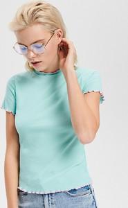 Turkusowy t-shirt Reserved z krótkim rękawem z dzianiny