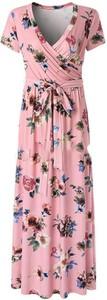 Różowa sukienka Sandbella maxi z krótkim rękawem