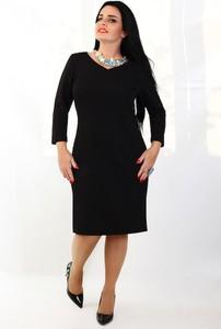 Czarna sukienka Oscar Fashion midi z dekoltem w kształcie litery v z długim rękawem