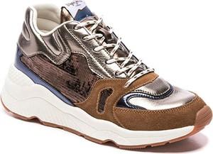 Buty sportowe Pepe Jeans sznurowane na platformie ze skóry
