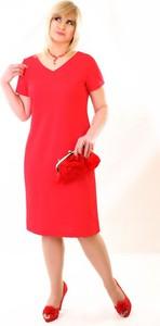 Czerwona sukienka Oscar Fashion z dzianiny midi