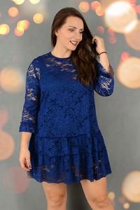 Sukienka Stabo z okrągłym dekoltem z bawełny z długim rękawem