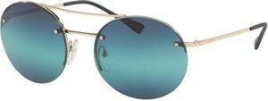 Niebieskie okulary damskie Prada w sportowym stylu