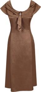 Sukienka Fokus z tkaniny rozkloszowana z krótkim rękawem