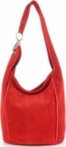 Czerwona torebka VITTORIA GOTTI ze skóry zamszowa na ramię