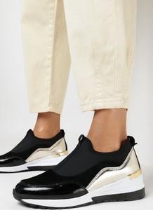 Czarne buty sportowe born2be ze skóry sznurowane