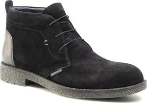 Czarne buty zimowe Badura z weluru sznurowane