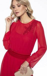 Czerwona sukienka L'AF z długim rękawem