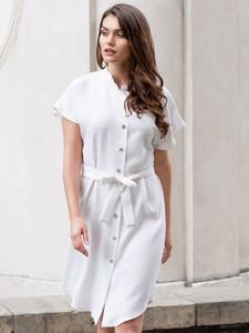 Sukienka Grandio szmizjerka z kołnierzykiem z krótkim rękawem