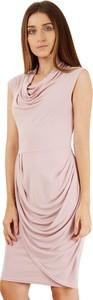 Różowa sukienka Closet w stylu casual bez rękawów midi