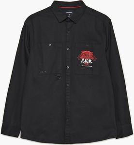 Czarna koszula Cropp z klasycznym kołnierzykiem w stylu casual