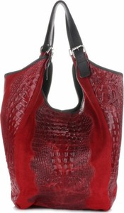 Czerwona torebka Vera Pelle na ramię ze skóry
