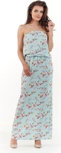Niebieska sukienka Awama prosta maxi