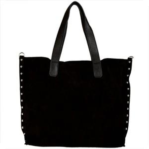 Czarna torebka Borse in Pelle w stylu glamour z zamszu zamszowa