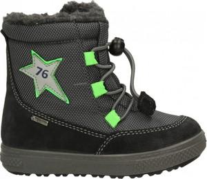 Czarne buty dziecięce zimowe Primigi z zamszu sznurowane