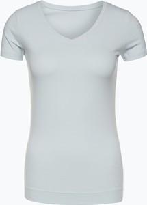 Niebieski t-shirt Marie Lund z dekoltem w kształcie litery v z krótkim rękawem