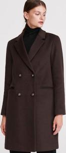 Brązowy płaszcz Reserved z wełny
