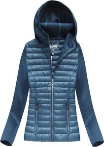 W collection pikowana kurtka z łączonych materiałów niebieska (18019)