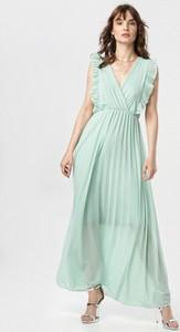 Miętowa sukienka born2be bez rękawów z dekoltem w kształcie litery v