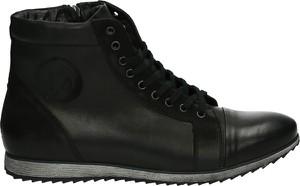 Czarne buty zimowe Venezia ze skóry