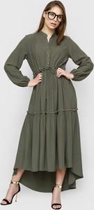 Zielona sukienka Freeshion z tkaniny maxi z długim rękawem