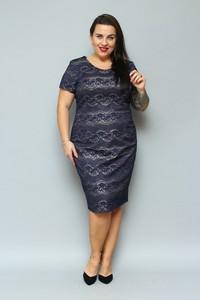 Granatowa sukienka KARKO midi z tkaniny