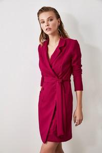 Fioletowa sukienka Trendyol z dekoltem w kształcie litery v z długim rękawem mini