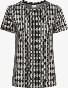 Czarny t-shirt Hugo Boss z żakardu z krótkim rękawem z okrągłym dekoltem